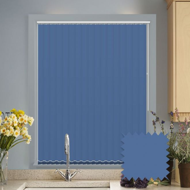 Made to measure vertical blinds in Splash Legion Blue plain fabric - Just Blinds